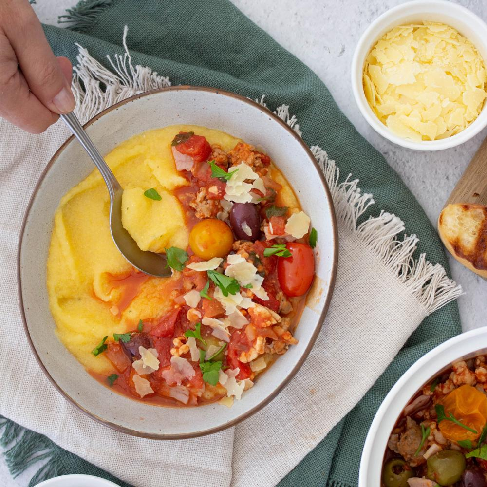 Easy sicilian sausage ragu with cheesy polenta