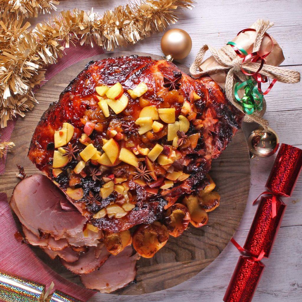 Leg ham with peach and rum glaze