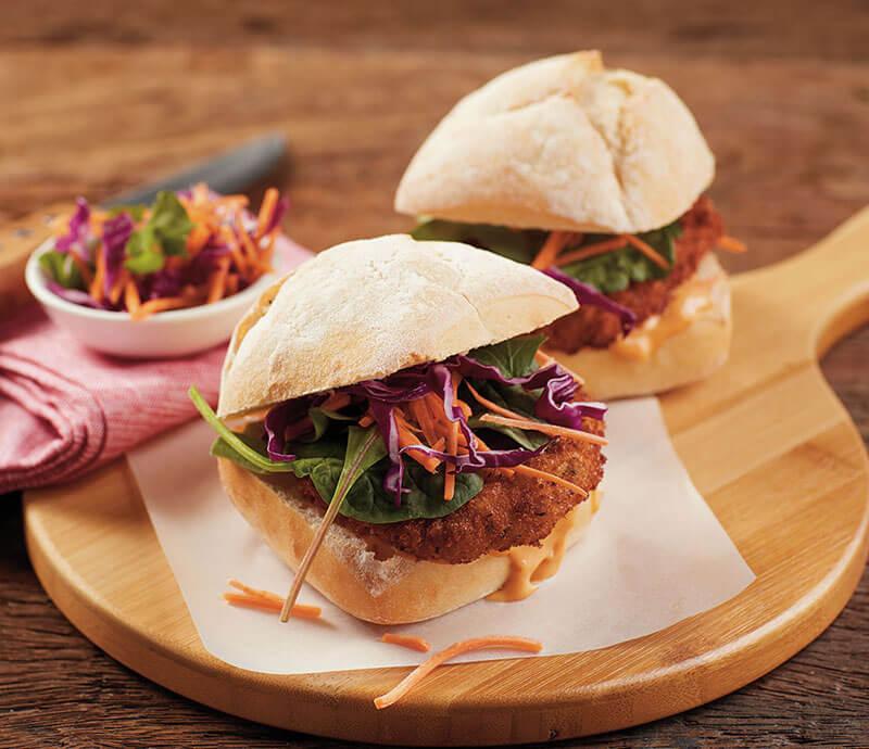 Lightly Seasoned Pork Schnitzel Burgers