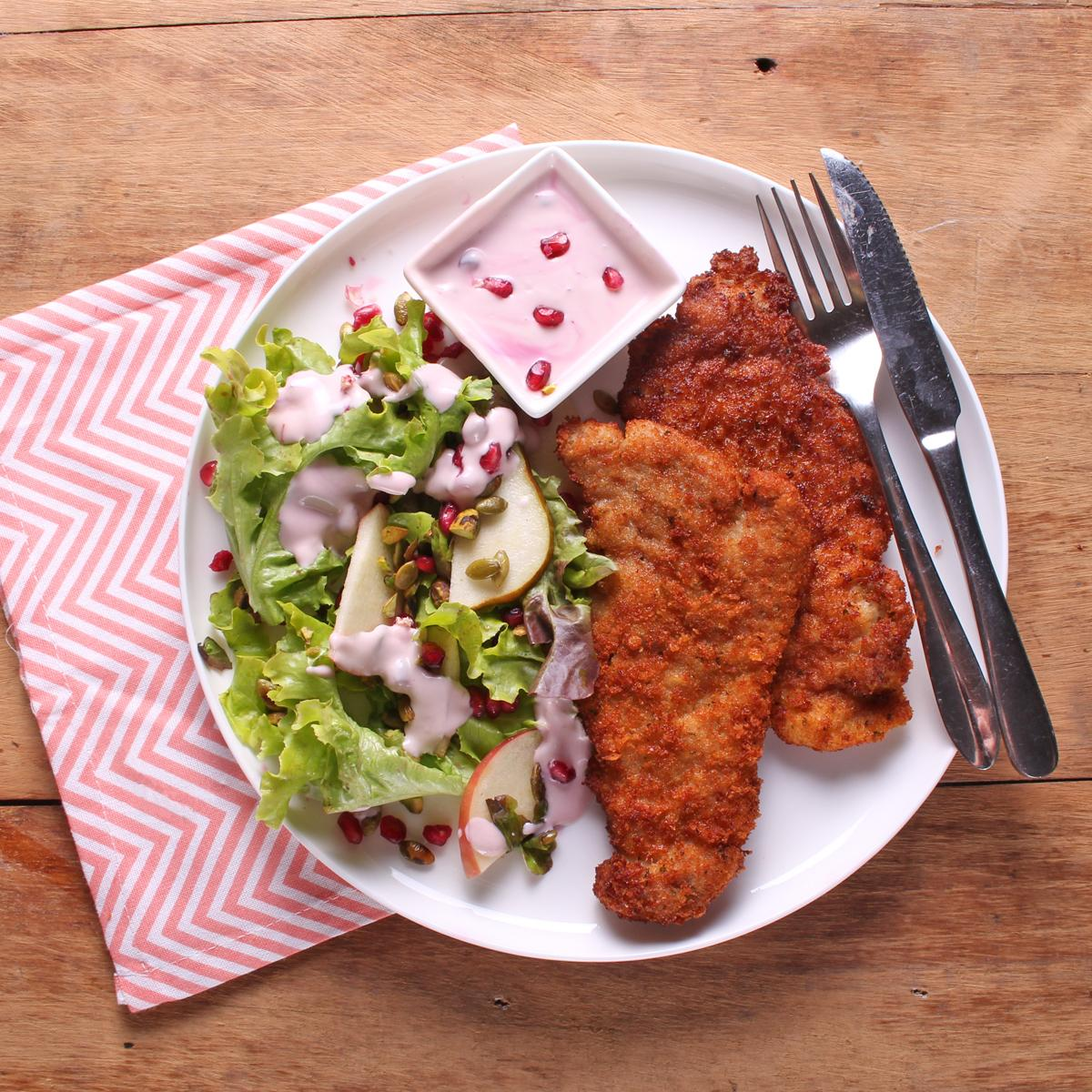 Pork Schnitzel with Pear Salad and Pomegranate Dressing