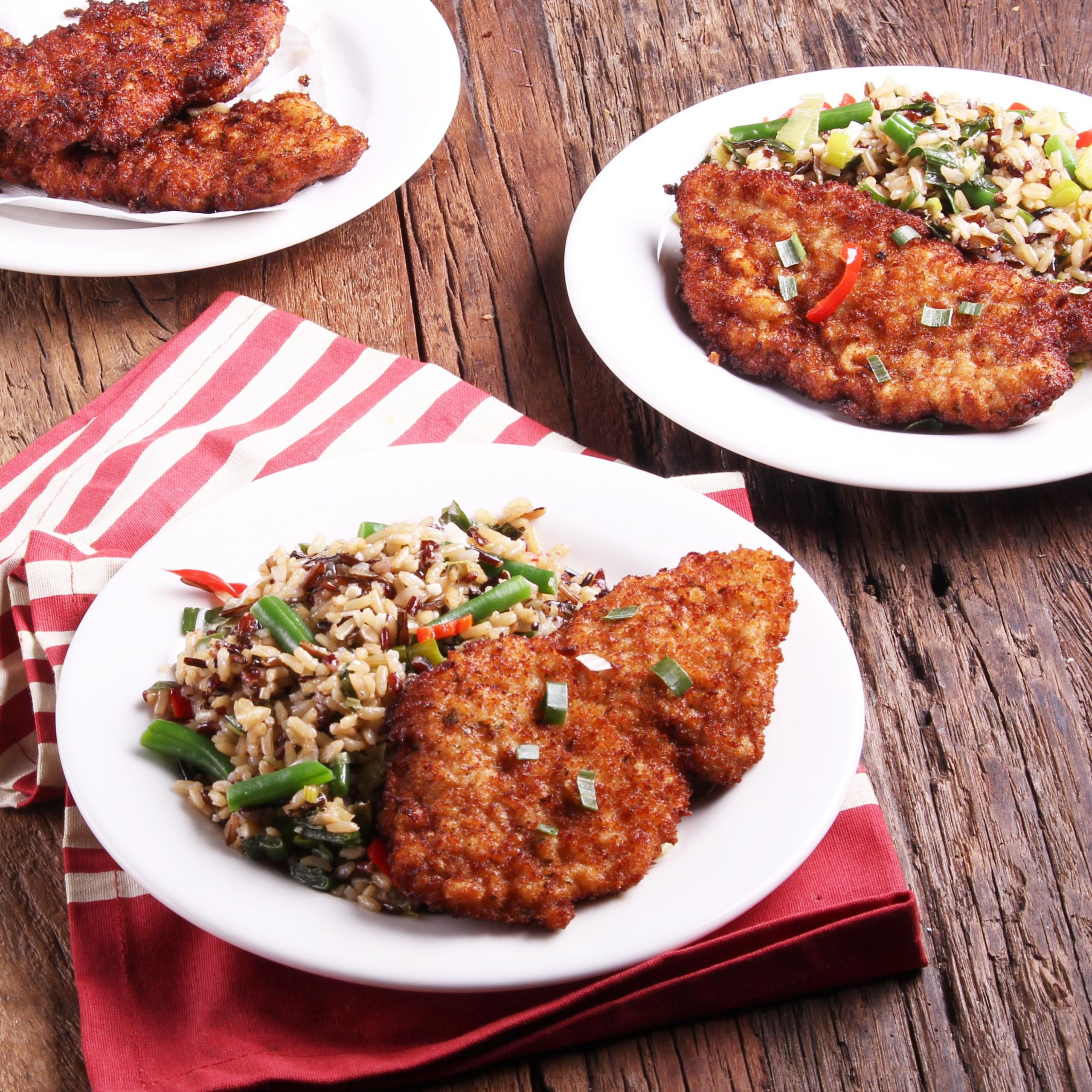 chnitzel With Buttered Wild Rice And Green Beans