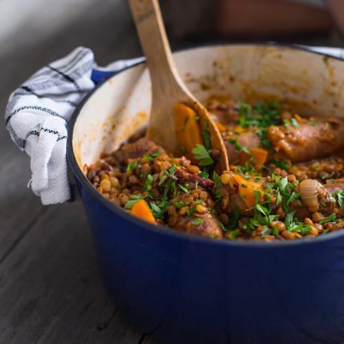 Sicilian sausage and lentil simmer