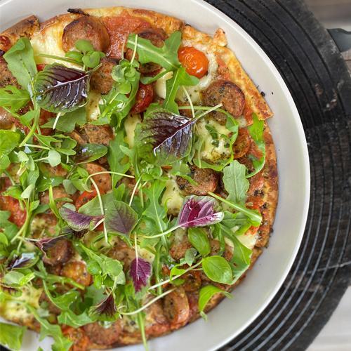 Sicilian Sausage Cauliflower Pizza