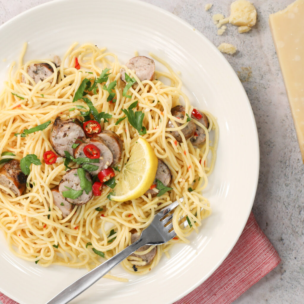 Lemon and Chilli Sicilian Sausage Spaghetti