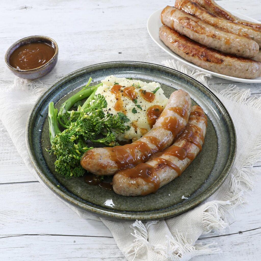 Farmhouse Sausages With Apple Cider Gravy & Roasted Garlic Mash, australian pork, heatlhy meal quick and easy