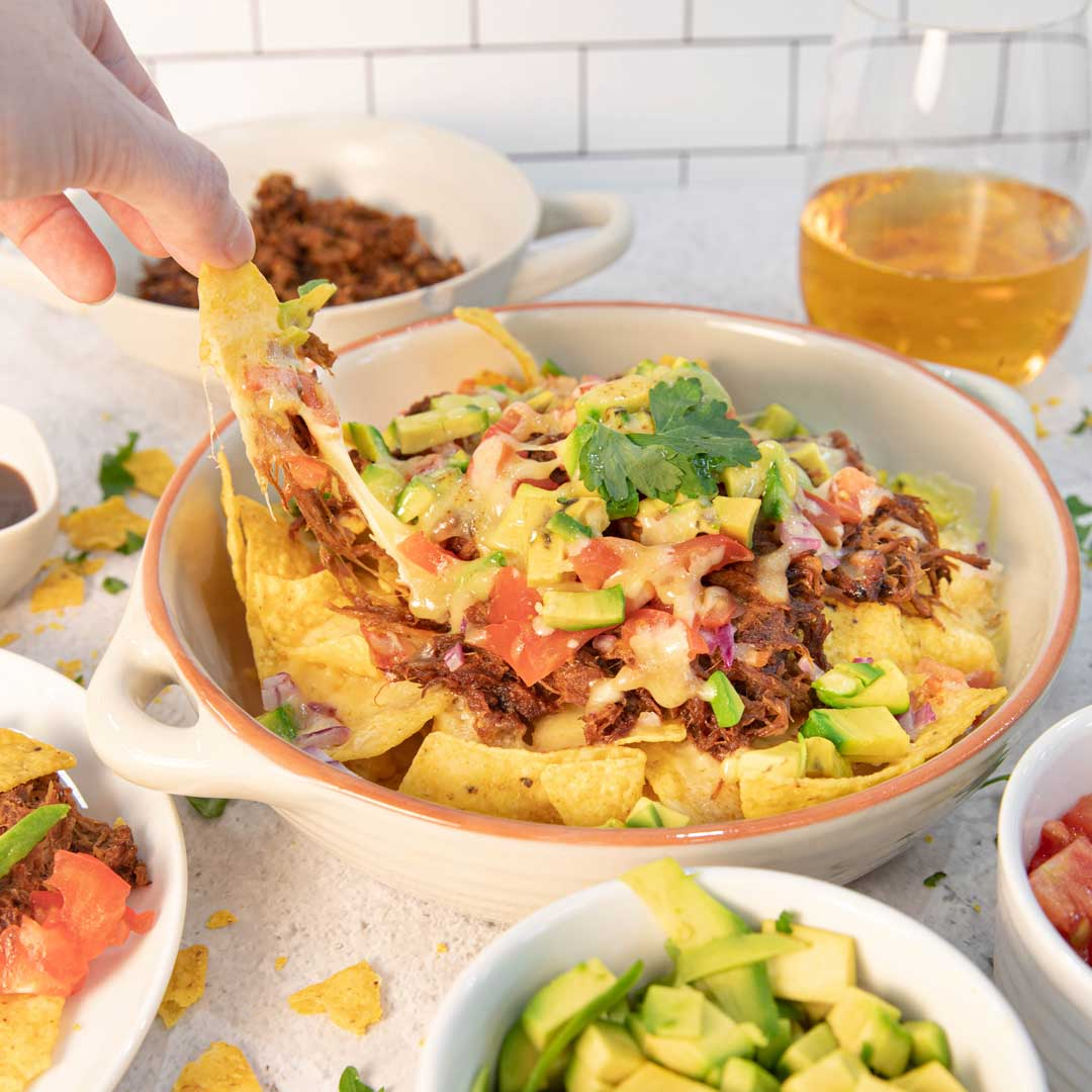 Three Aussie Farmers Pulled-Pork Nachoes Whisky BBQ