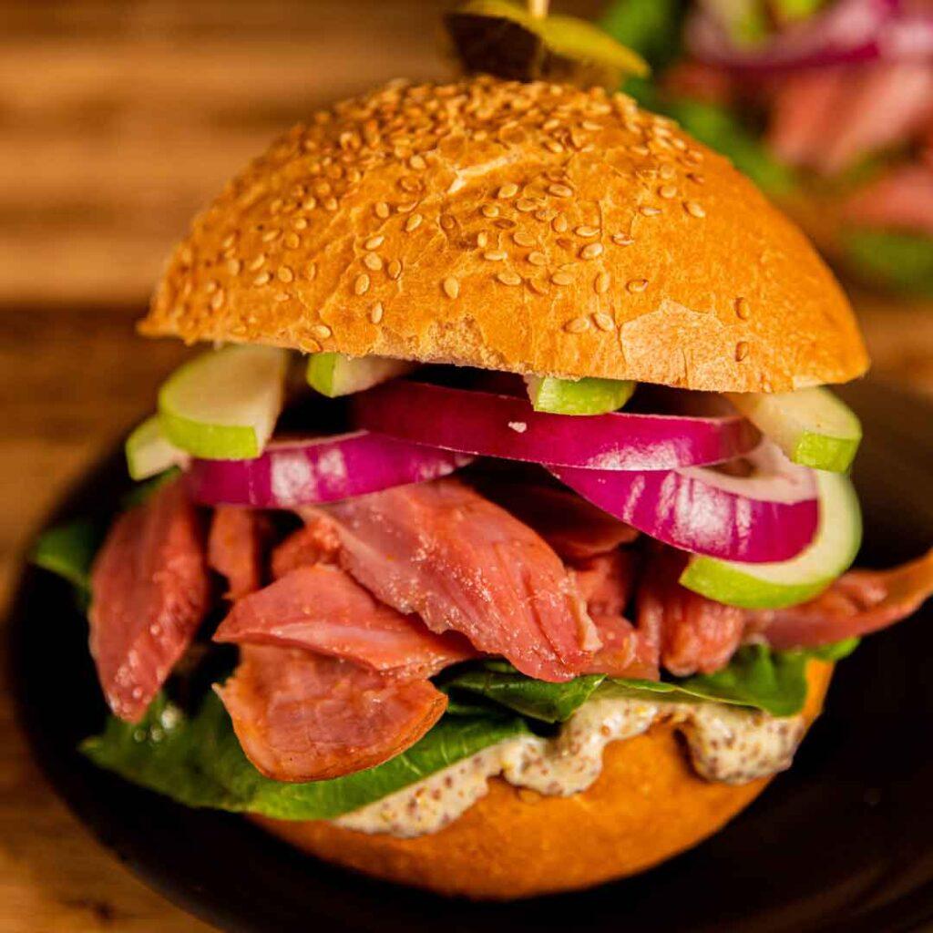 Three Aussie Farmers Meaty Hock Burger With Apple