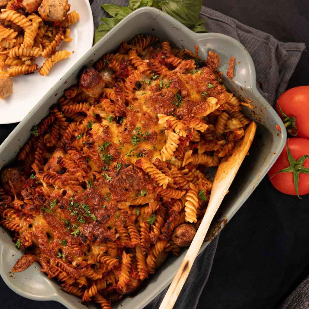 Three-Aussie-Farmers-Sasuage Tomato Basil Pasta Bake
