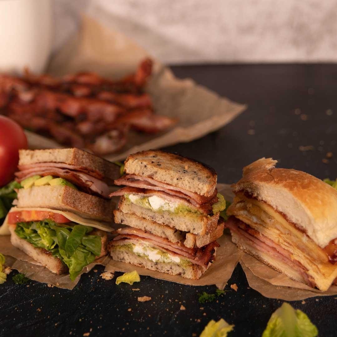 Three Aussie Farmers Medley Bacon Sandwiches